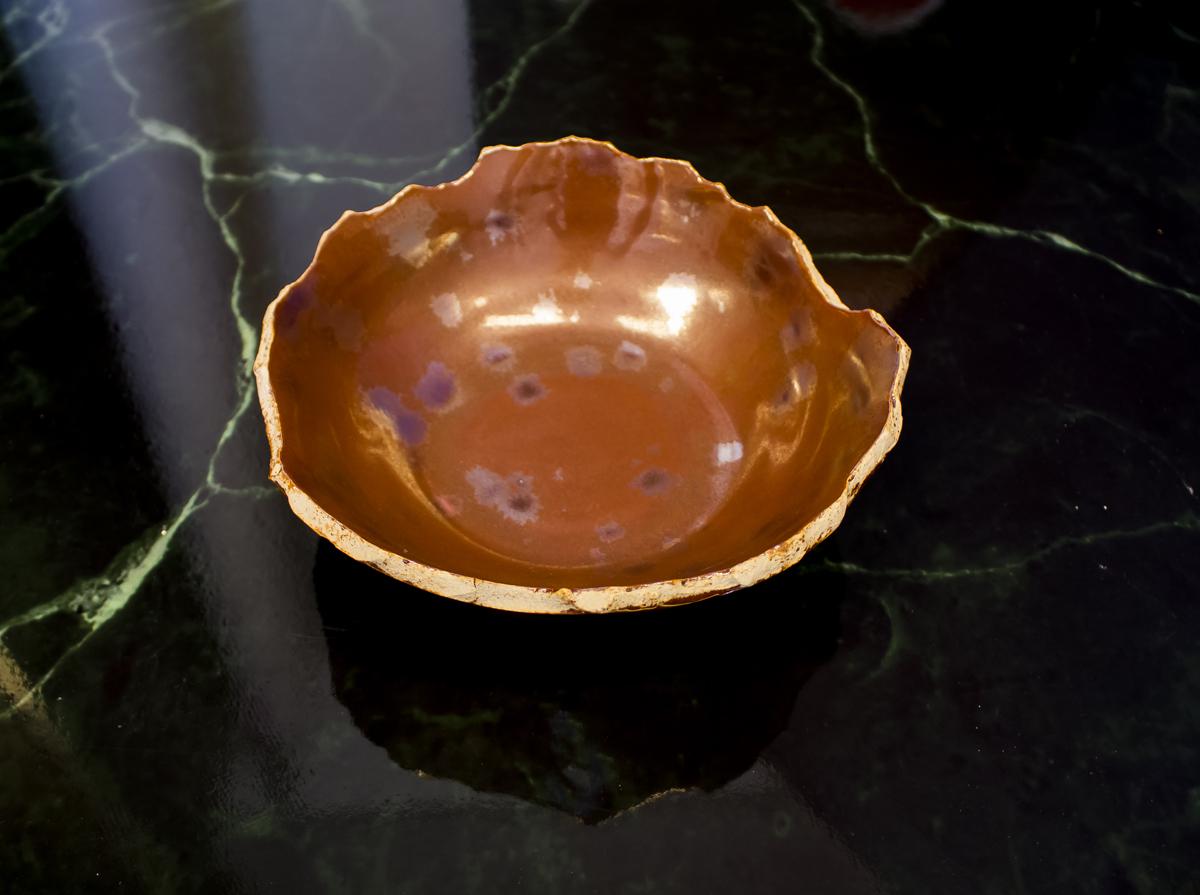 Metallic Luster glaze on cracked bowl -By studio RAW